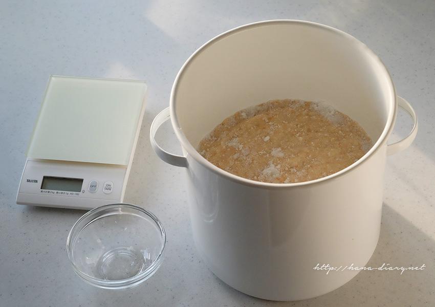 手作り味噌容器。野田琺瑯ラウンドストッカー